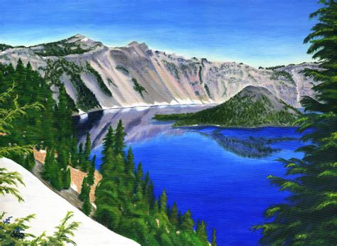 crater lake oregon painting  colleen ward