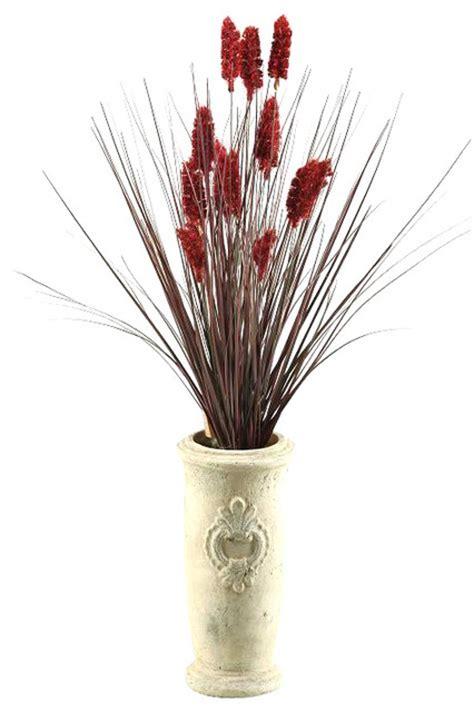 dw silks onion grass  dogstail  tall ceramic vase