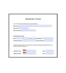 Bill Of Sales Exle by Trailer Bill Of Sale 8 Free Word Excel Pdf Format