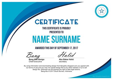 blank certificate background minima blue bang abu design
