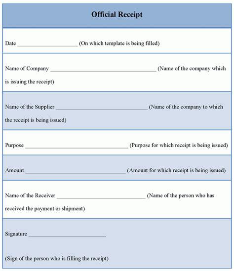 Receipt Template Official Receipt Template Format Format Of Official
