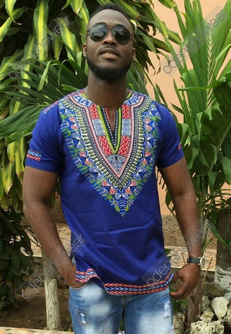 odeneho wear mens blue polished cotton top dashiki