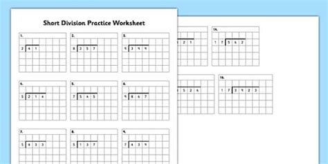 ks short division practice worksheet