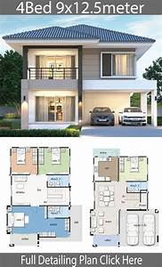House, Design, Plan, 9x12, 5m, With, 4, Bedrooms