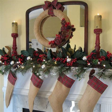 decorating for christmas with burlap my rustic and cozy christmas mantel burlap and plaid hometalk