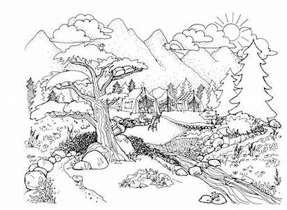 Coloring Pages Printable Landscape Adults Nature Colouring