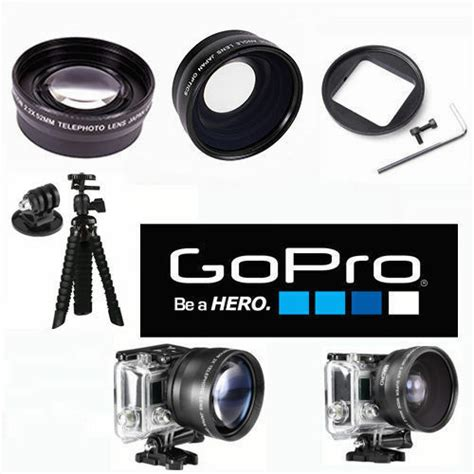 wide angle lens telephoto zoom lens tripod gopro