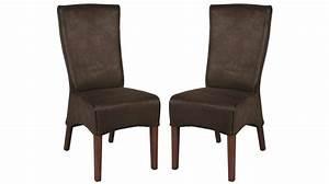 Chaise De Salon Design : lot de 2 chaises de salle manger microfibre marron chaise design pas cher ~ Teatrodelosmanantiales.com Idées de Décoration