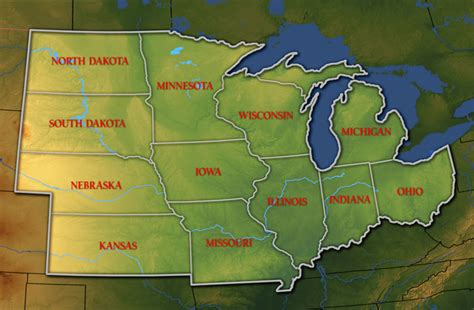 Map Of Midwest Region
