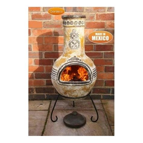chiminea for sale uk gardeco azteca yellow mexican chiminea 2 sizes clay