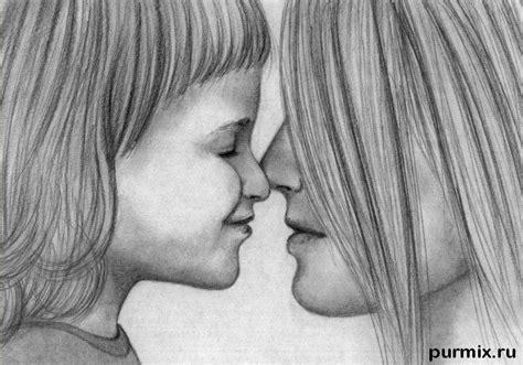 как нарисовать маму с дочкой простым карандашом