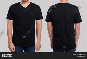 Black t shirt mock front back view image photo bigstock for T shirt template with model