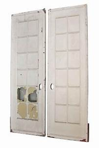 Pair of White Pocket Doors with Glass Panel | Olde Good Things