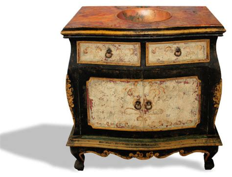 Vanité Baroque by Bombay Distressed Vanity Black Baroque With Antiqued