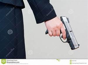Woman Holding Hand Gun On White Background Stock ...
