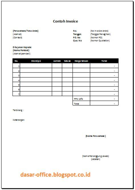 Surat Invoice by Contoh Invoice Doc Dan Excel Sederhana