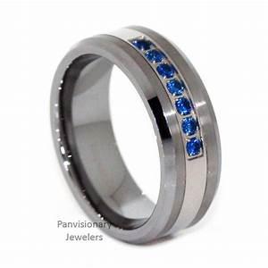 Thin Blue Line Ring Tungsten Carbide Mens 7 Stone Blue CZ