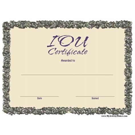 iou template free printable iou certificates