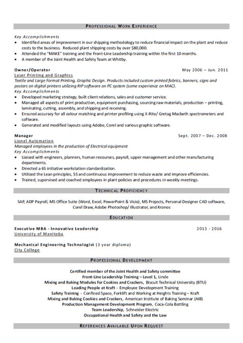 Manufacturing Leader Resume by Pin Manufacturing Sle Resume From Writers On