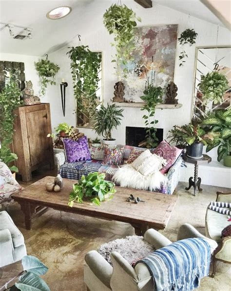 boho living room decorating ideas that s a lot of plants to water home 19025