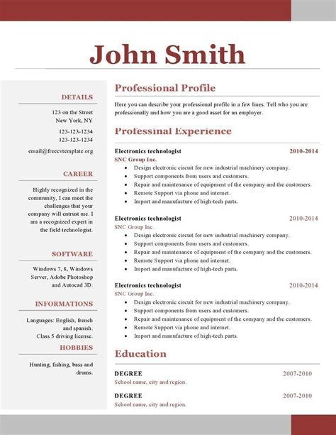 Free Resume Building And Downloading by One Page Resume Templates Free Vvengelbert Nl