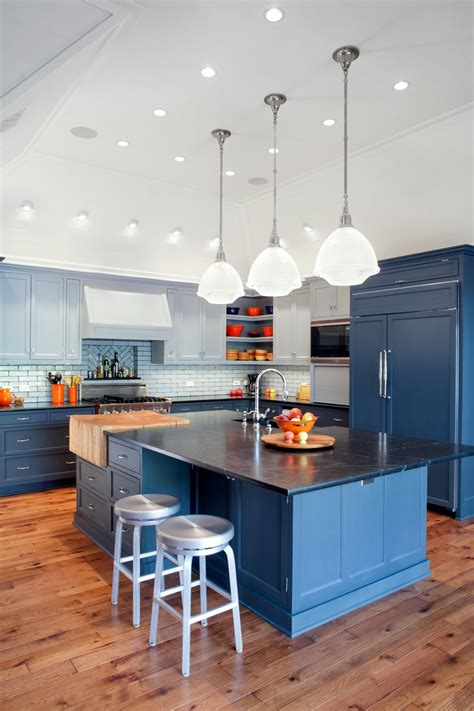 open kitchen  blue refrigerator cabinets hgtv