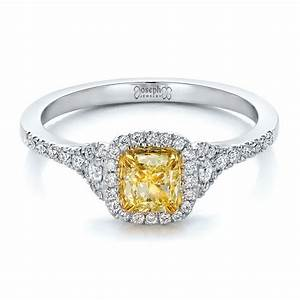 fancy yellow diamond with halo engagement ring 100564 With fancy wedding ring