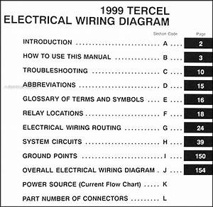 1999 Toyota Tercel Wiring Diagram Manual Original