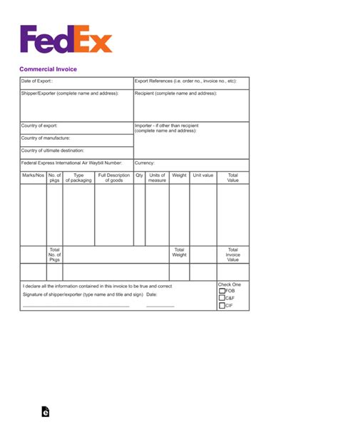 Commercial Invoice Template Free Fedex Commercial Invoice Template Pdf Eforms