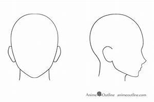 anime male head anime outline With anime head template