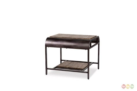 black metal end table vail casual natural acacia wood end table with black metal