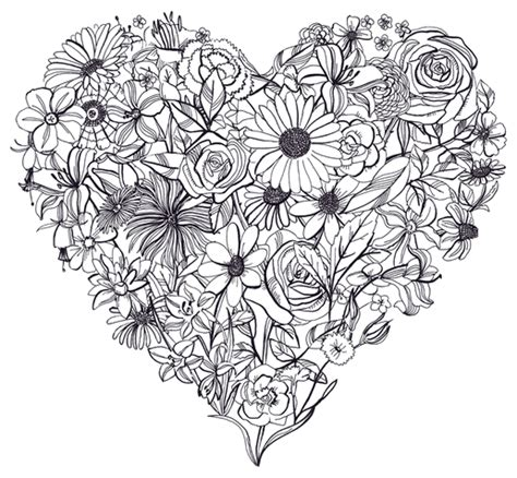 black  white flower heart hearts png image
