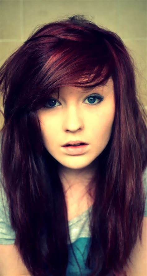 Medium Violet Haircut Pics Women Dark Red Violet