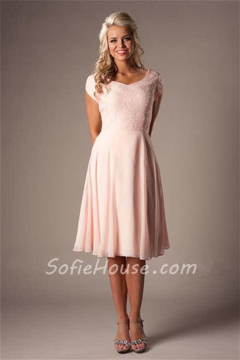 modest   sweetheart short sleeves blush pink chiffon