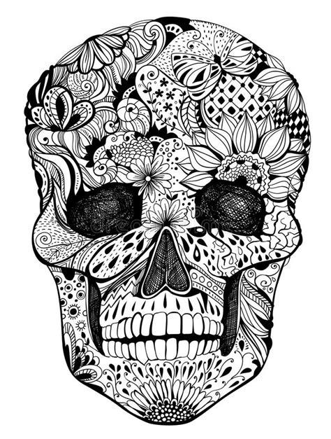 floral skull stock vector illustration  butterfly