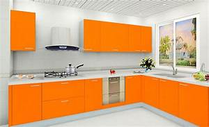 White wall color and modern orange kitchen cabinet for for Kitchen cabinet trends 2018 combined with bachelor wall art