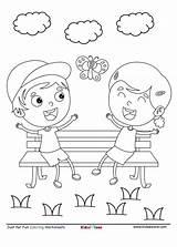 Coloring Park Cartoon Fun Sheet Chatting Kidzezone Pdf Bench Garden Worksheet sketch template