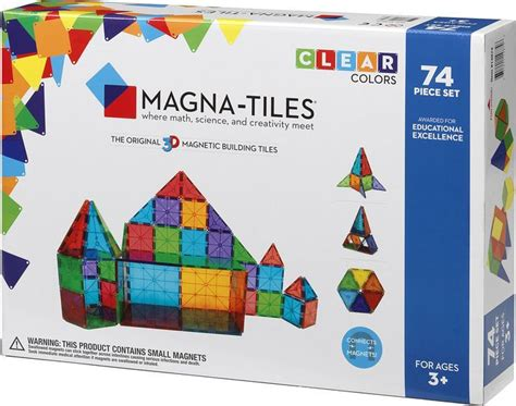 magna tiles clear colors 74 piece set 631291148746