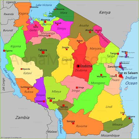 tanzania map map  tanzania annamapcom
