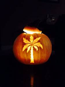 Palm, Tree, Carved, White, Pumpkin