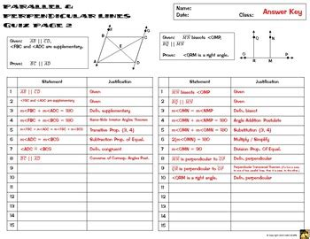 proofs  parallel perpendicular lines  column