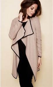 Long Gilet Noir Femme : gilet femme manches longues laine et cuir ~ Melissatoandfro.com Idées de Décoration