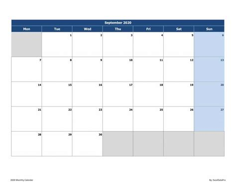 monthly calendar mon start excel template