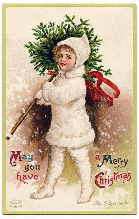 vintage christmas graphic snow girl  topiary