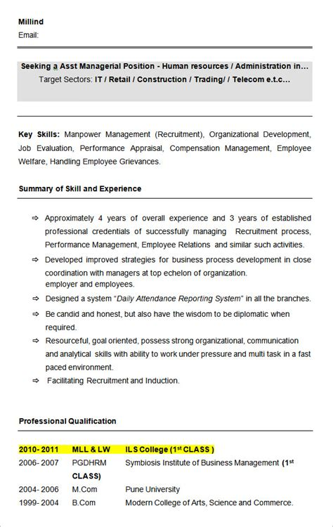 sle resume for hr assistant