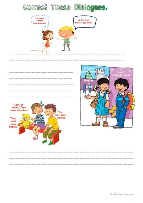 correct these dialogues worksheet free esl printable