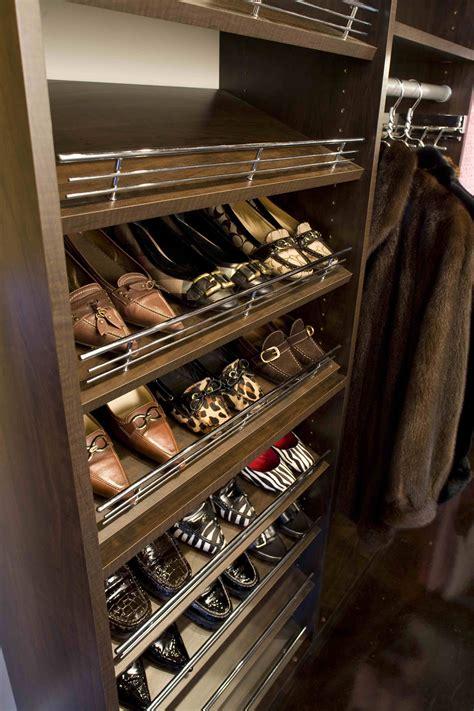 Slanted Shoe Shelves With Chrome Rails Closet