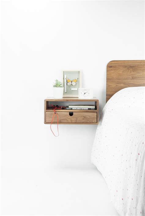 walnut floating nightstand bedside table drawer  solid