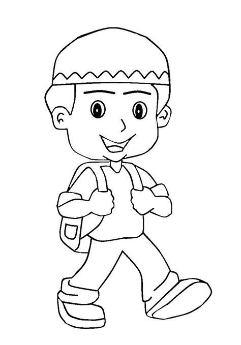 mewarnai gambar anak pergi ke masjid