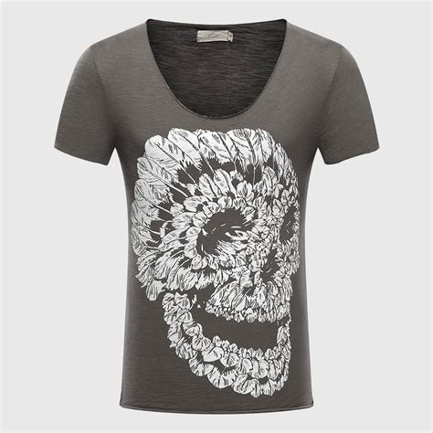 skull 3d t shirts cotton graphic tees tops v neck t